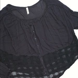 Free People Black Oversized Button Down Top